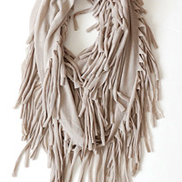 Shaggy Urban Adventure Infinity Scarf, Taupe