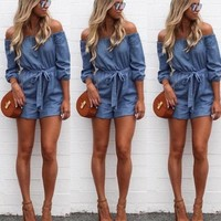 Women Denim Jumpsuit Trousers Off Shouder Clubwear Long Romper Jeans Off Slash Shoulder Sexy Pants Women