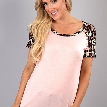 Solid Top with Leopard Sleeves - Peach