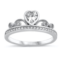 Crown and Heart Ladies Ring Size 5-10 in .925 Sterling Silver and CZ