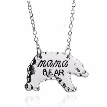 Lovely Charm MAMA Bear Pendant Necklace Mother's Gifts Silver & Gold Birthday Love Mommy Mom Necklaces Jewelry