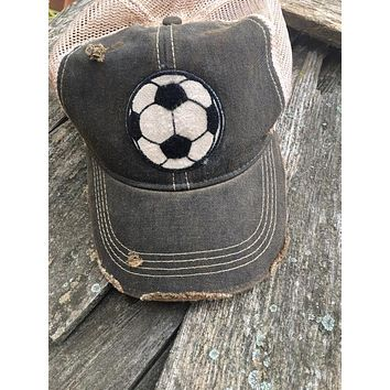 Game Day Vintage Distressed Trucker Cap with Soccer Patch.   12 Color Choices