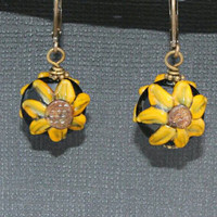 Sunflower earrings - lampwork yellow sunflower earrings - sunny flower earrings