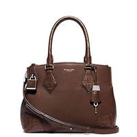 Michael Kors Women's New Fashion Collection Casey Medium Leather And Crocodile Satchel