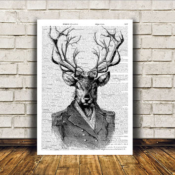 Wall decor Deer poster Dictionary print Animal art RTA202