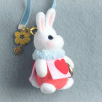 Needle felt white rabbit bag charm, handmade bunny doll handbag charm, Alice in Wonderland rabbit, needle felt animal, gift under 30