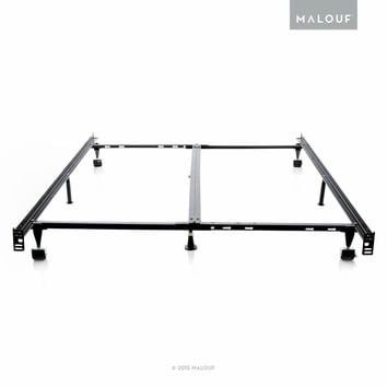 STRUCTURES Low Profile 8-Leg Heavy Duty Adjustable Metal Bed Frame with Rug R...