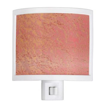 Golden Tangerine Pink Blush Crackled Pattern Night Light