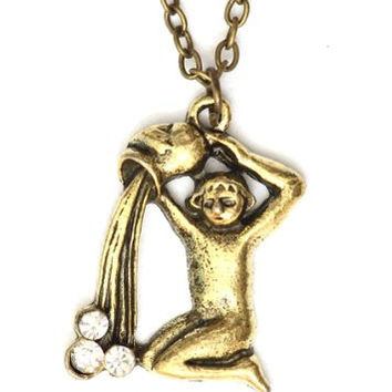Aquarius Necklace Antique Zodiac Sign NG31 Crystal Waterbearer Gold Tone Astrology Horoscope Pendant
