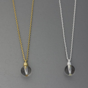 Light Bulb Electric Bulb Pendant Necklace  -  Available Chain color as listed ( Gold, Silver )