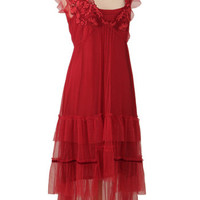 Nataya Romantic Dresses-Red Ruffle Tulle Empire Party Dress