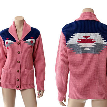 Vintage 70s Western Indian Sweater 1970s Southwestern Pink Shawl Collar Chunky Knit Cardigan Rockabilly Boho Unisex Jacket / L