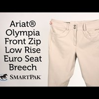 Ariat® Olympia Front Zip Low Rise Euro Seat - Knee Patch Breeches from SmartPak Equine