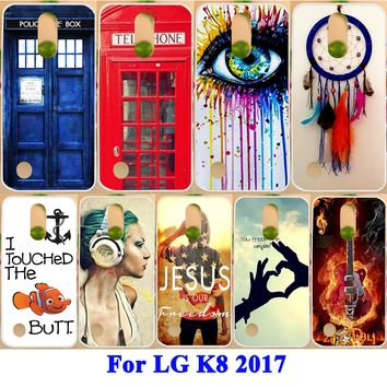 """Soft TPU Hard PC Cases For LG K8 2017 X300 M200N LG LV3 Aristo MS210 5.0"""" Covers Dream Catcher Painted Patten Housing Bags Capa"""