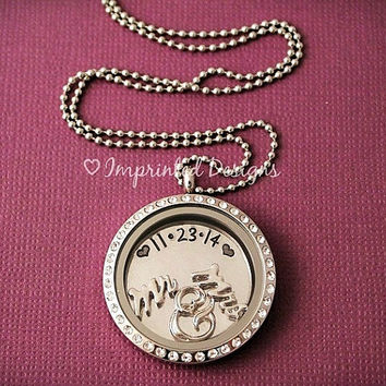 Wedding Locket / Floating Locket / Couples Locket / Living Necklace / Anniversary Locket