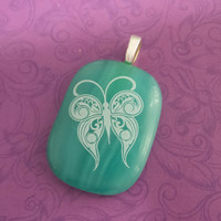 White Butterfly Pendant, Omega Slide, Turquoise Green Jewelry - Float Away with Me - 5