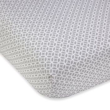 Wendy Bellissimo™ Mix & Match Geometric Fitted Crib Sheet in Grey/White