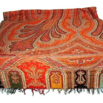 Huge 19th Cent Kashmir Paisley Shawl Piano Scarf 84 X 132 in Antique Textile