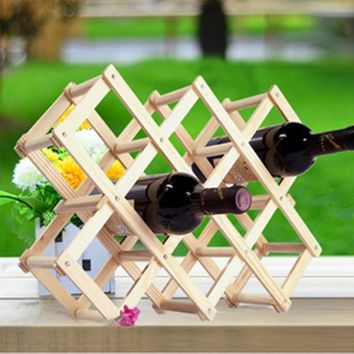 1PC High quality Solid Wood Folding wood Wine Racks,Foldable Wine Stand Wooden drink bottle Holder creative gift series