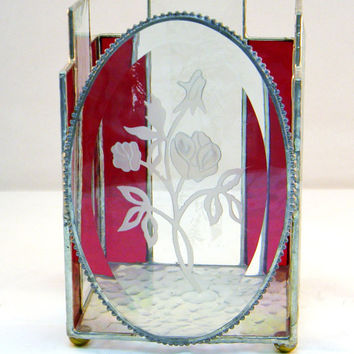 "Stained Glass Candle Shelter, Candle Holder, Etched Roses, Ruby Red, Home Decor, Wedding Center Piece 6"" tall"