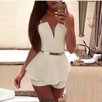 V Neck Chiffon White Rompers
