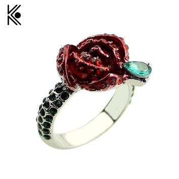 Beauty and the Beast Rings The Rose Full OF Crystal Wedding Jewelry For Women Beauty And The Beast Valentines Day Gift