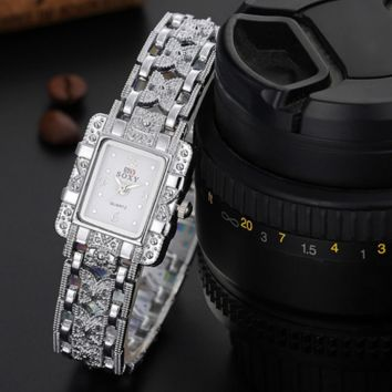 Ms bracelet watches - square watches White(white face)