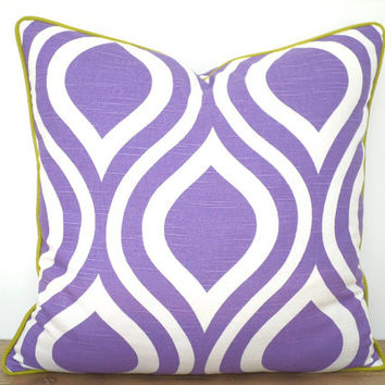 Lilac ikat pillow cover 18x18, wisteria and kiwi green throw pillow, trellis sofa cushion purple and green decor, decorative pillow piping