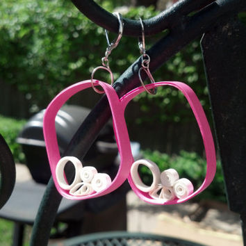 Paper Quilled Earrings & Pendant Set Large Rectangle Art Deco - Hot Pink and White quilling jewelry set, necklace and earrings, eco friendly