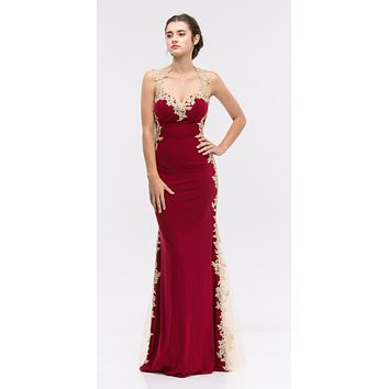 Sheath Mermaid Silhouette Gown Burgundy Floor Length Lace Trim