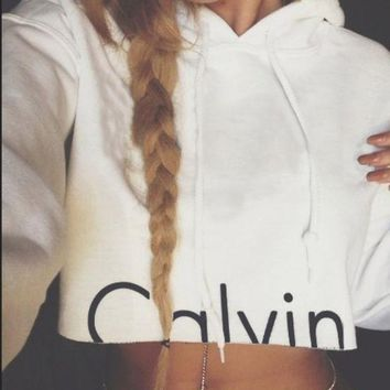 Chenire Calvin Klein Fashion Solid Drawstring Top Sweater Pullover Hoodie