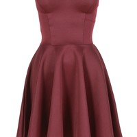 Wine Red Boob Tube Flare Dress