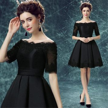 2017 New Design Vestido Black Lace&Satin Short Girl/Young Lady/Women's Dress Bridesmaid Party/Prom/Ball Gown Lace-up/Corset Back