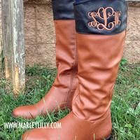 Monogrammed Cognac & Black Two Toned Riding Boots - SIZE 6.5