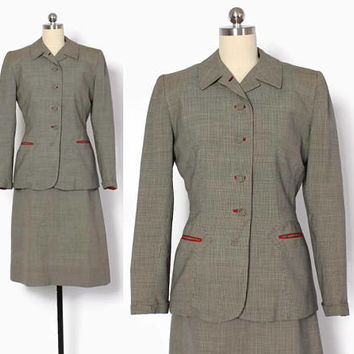 Vintage 40s Houndstooth Suit / 1940s Red and Green Wool Tailored Blazer Jacket & Pencil Skirt XS