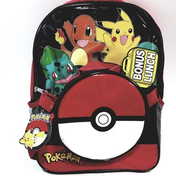 "New Pokemon  Red 16"" School Bag/Knapsack/Backpack With 9"" Lunch Bag"