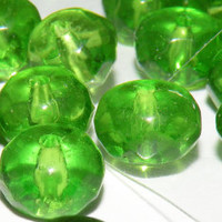 Vintage Beads 70 Round Glass Beads Lime Green Glass Center Drilled Jewelry Supply Beads 1970s