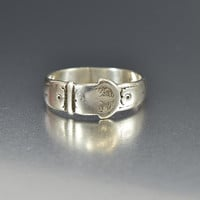 Sterling Silver Engraved Antique Buckle Ring