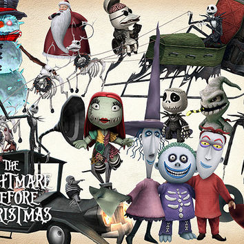 38 The Nightmare Before Christmas Clipart PNG Digital Graphic Image Clip Art Scrapbook Invitations INSTANT DOWNLOAD printable