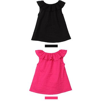 Sleeveless Solid Baby Girl Dress Lotus Leaf Collar Summer Christening Dress