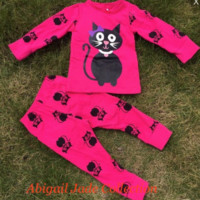 Toddler Girl Halloween Cat Pajamas Hot Pink