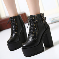 Hot Sale Russian Shoes Black Platform Martin Boots Women With Zip High Heels Shoes Lace Up Ankle Boots 2016 Fashion Size 35-39