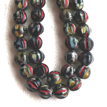 25 Czech glass melon beads. 6mm opaque black with a full picasso finish, spattered, pressed glass beads C2701