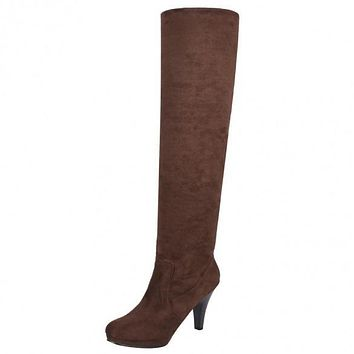 Fashion Women Over Knee Thigh High Stiletto Heel Platform Stretch Boots