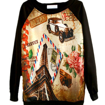 Black Tower And Flower Sweater