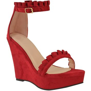 Women's Sexy Red Faux Suede Ruffled High Heel Platform Wedge Wedding Sandals