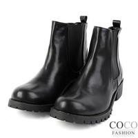 Black High Cut Flat Korean Boots with Elasticated Sides
