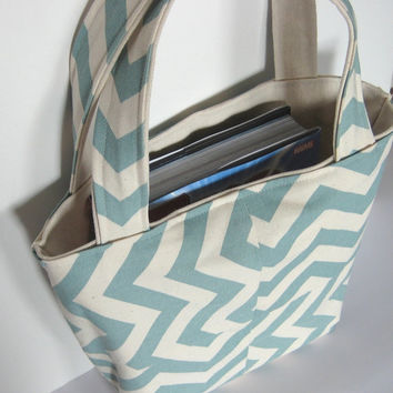 Tote Bag. Chevron Bag. Book Tote. Teacher Bag. School Purse. 12 Chevron Color Choices. Canvas Lined. Geometric Bag. Fall/Winter Line.