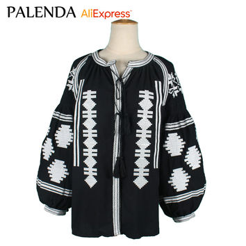 palenda 2016 wide fit bohemian embroidery blouses kaftan  top loose patterns boho  Vyshyvanka  shirt  cotton black