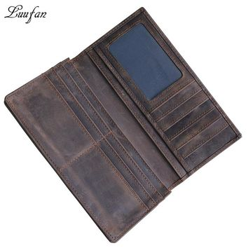 Vintage Men's genuine leather cell phone Wallet card holder wallet with eleven card holders inner zipper pocket two fold long purse